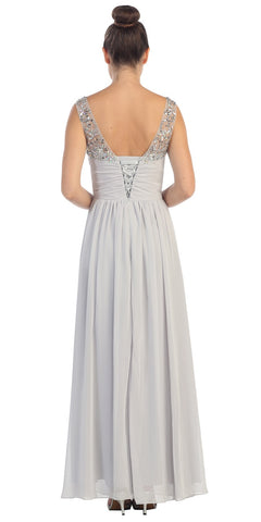 Starbox USA L6093 V-Neck Beaded Straps Ruched Silver Empire Waist Evening Gown
