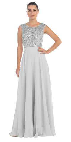 Starbox USA L6111 Cap Sleeves V-shape Back Beaded Bodice Silver Chiffon Prom Gown