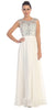 Starbox USA L6111 Cap Sleeves V-shape Back Beaded Bodice Off White Chiffon Prom Gown