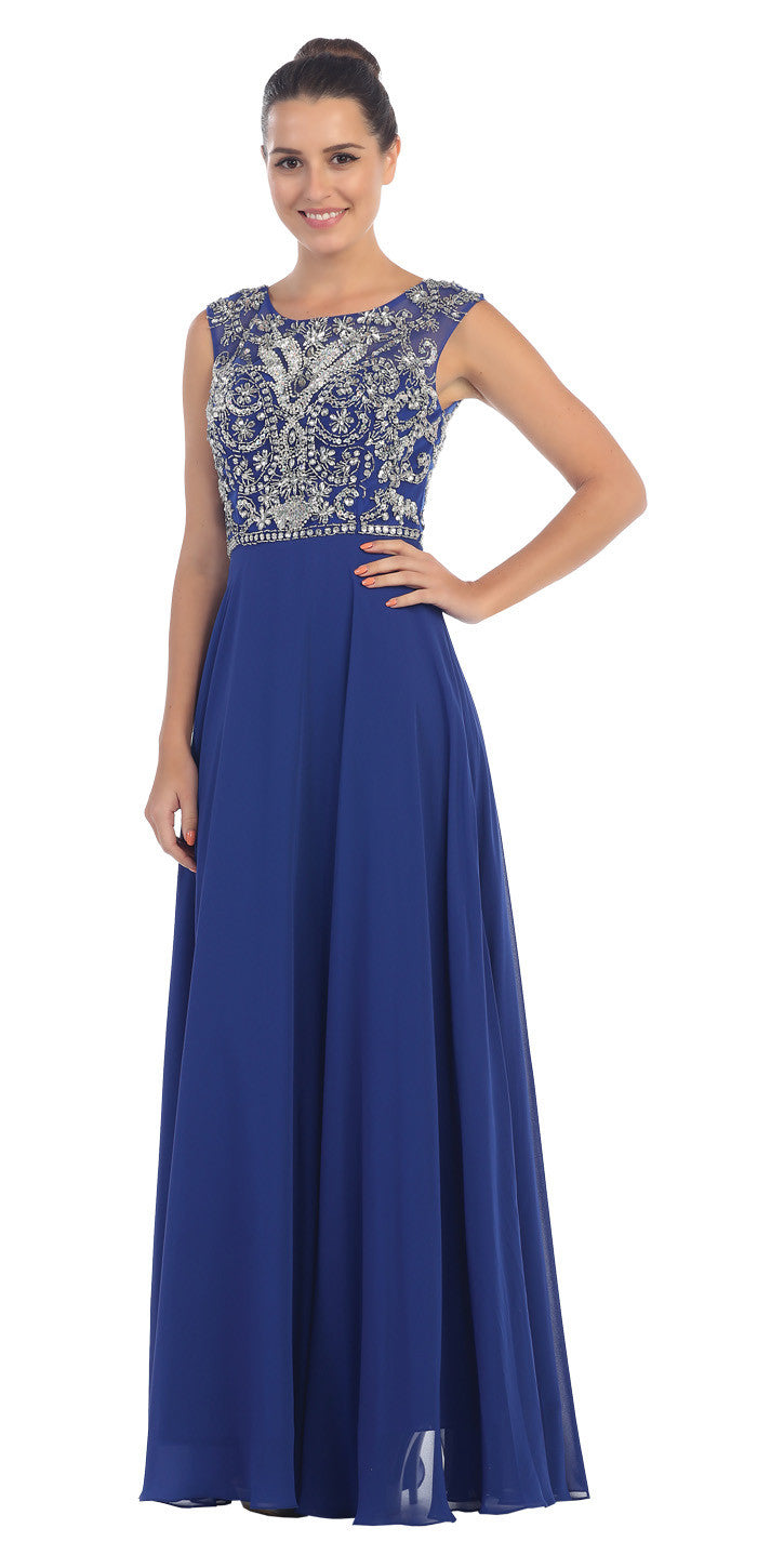 Starbox USA L6111 Cap Sleeves V-shape Back Beaded Bodice Royal Blue Chiffon Prom Gown