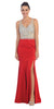 Starbox USA L6113 Sheath V-neck Rhinestone Bodice Sexy Red Prom Dress