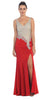 Starbox USA L6114 Rhinestone Bodice V-Neckline Red Formal Prom Gown
