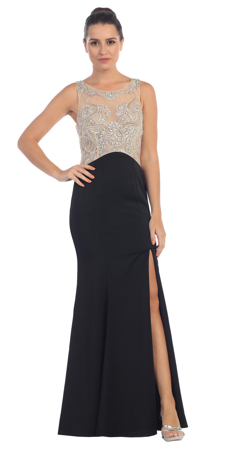 Starbox USA L6116 Jewel Neckline Studded Bodice Black See-Through Back Prom Dress