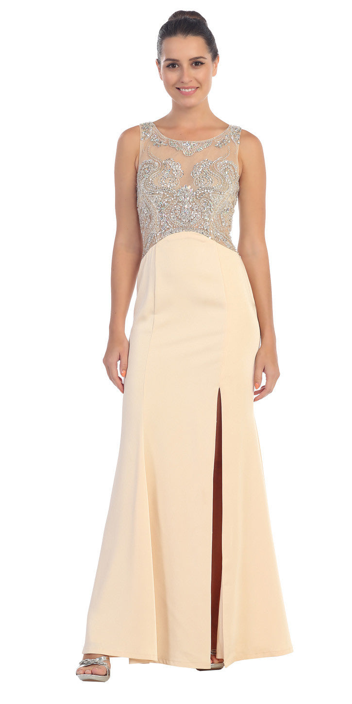 Starbox USA L6116 Jewel Neckline Studded Bodice Champagne See-Through Back Prom Dress
