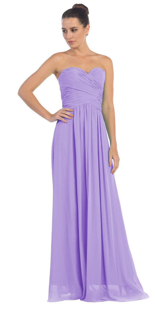 Starbox USA L6126 Sweetheart Ruched Chiffon Lilac Bridesmaid Dress