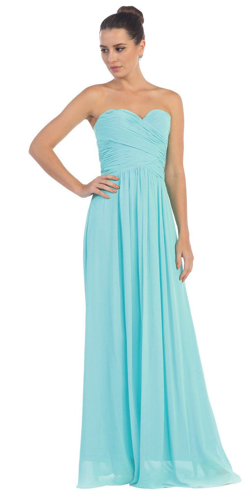 Starbox USA L6126 Sweetheart Ruched Chiffon Tiffany Blue Bridesmaid Dress
