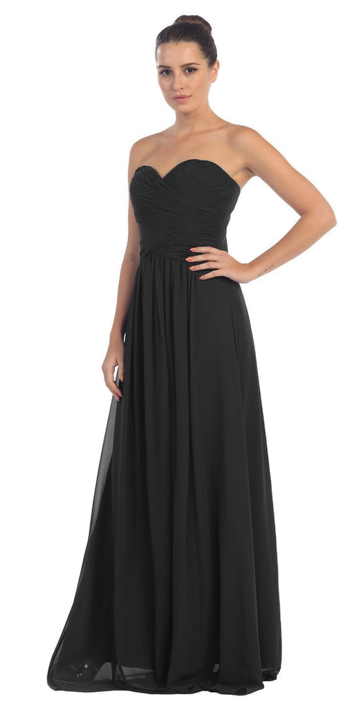 Starbox USA L6126 Sweetheart Ruched Chiffon Black Bridesmaid Dress