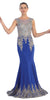 Starbox USA L6128 Bateau Neck Royal Blue Fit and Flare Embroidered Floor Length Prom Gown