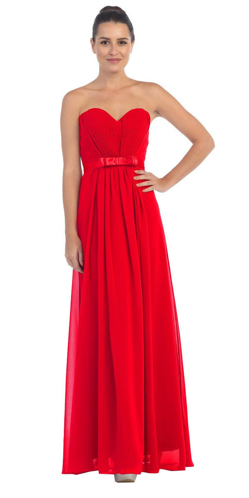 Starbox USA L6134 Strapless Red Pleated Bust Empire Waist Chiffon Formal Dress