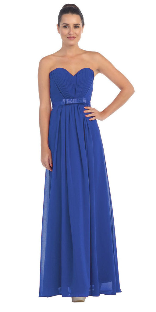 Starbox USA L6134 Strapless Royal Blue Pleated Bust Empire Waist Chiffon Formal Dress