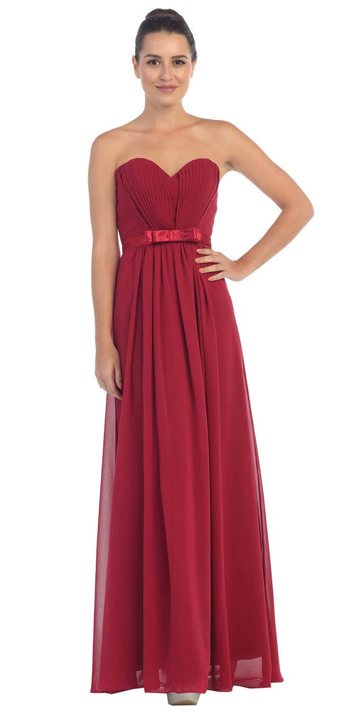 Starbox USA L6134 Strapless Burgundy Pleated Bust Empire Waist Chiffon Formal Dress