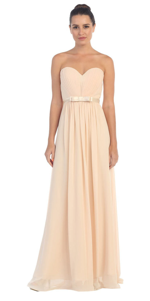Starbox USA L6134 Strapless Champagne Pleated Bust Empire Waist Chiffon Formal Dress