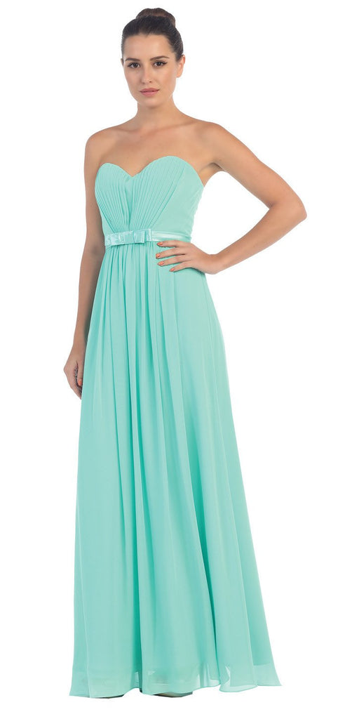 Starbox USA L6134 Strapless Mint Pleated Bust Empire Waist Chiffon Formal Dress