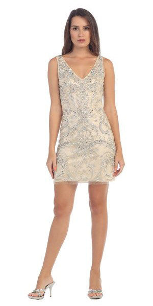 Starbox USA S6077 Plunging Rhinestones Champagne Sheath Prom Short Dress V-Neck