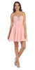Starbox USA S6083 Ruched Beaded Bodice A-line Skirt Blush Homecoming Dress Short