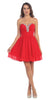 Starbox USA S6083 Ruched Beaded Bodice A-line Skirt Red Homecoming Dress Short