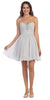 Starbox USA S6083 Ruched Beaded Bodice A-line Skirt Silver Homecoming Dress Short