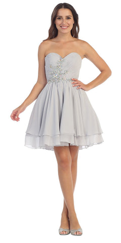 Starbox USA S6085 Strapless Ruched Beaded Bust Chiffon Silver Short Prom Dress