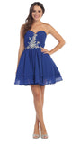 Starbox USA S6085 Strapless Ruched Beaded Bust Chiffon Royal Blue Short Prom Dress