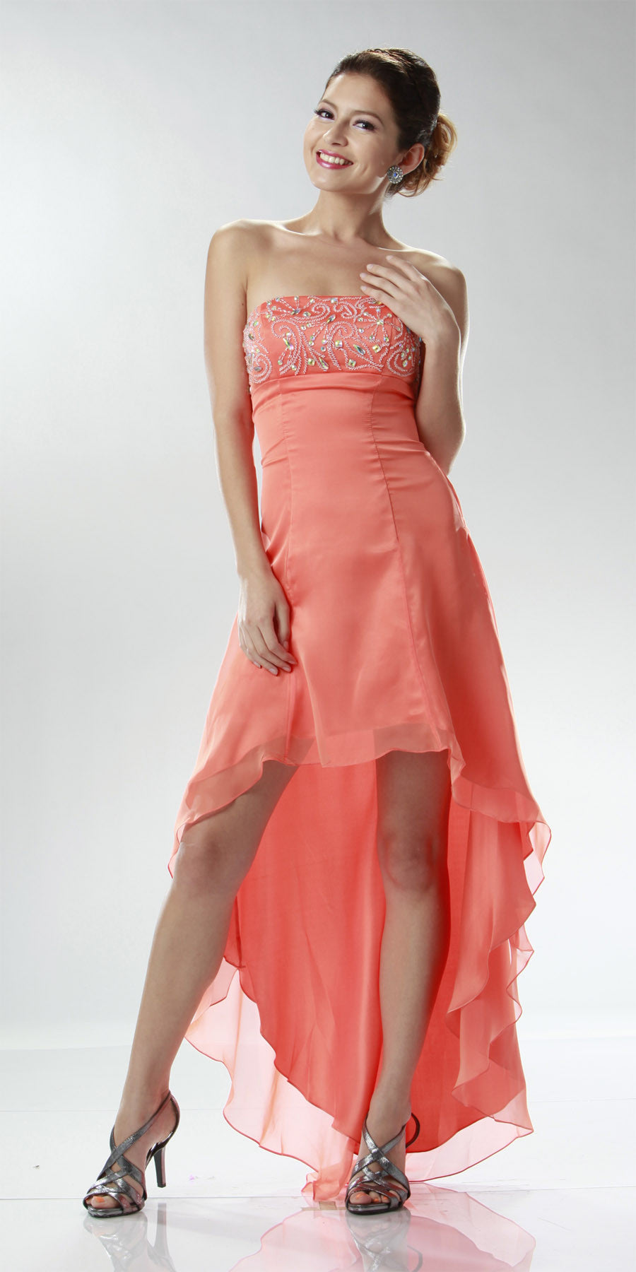 ON SPECIAL LIMITED STOCK - Orange/Coral High Low Homecoming Dress 2 Tone Chiffon Strapless Beaded Top