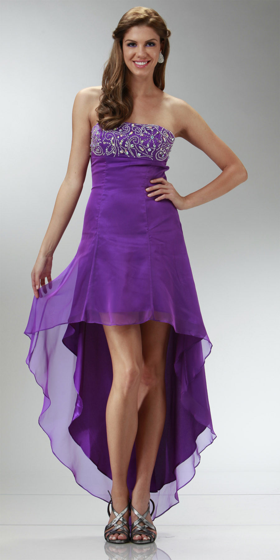 ON SPECIAL LIMITED STOCK - Purple High Low Homecoming Dress 2 Tone Chiffon Strapless Beaded Top