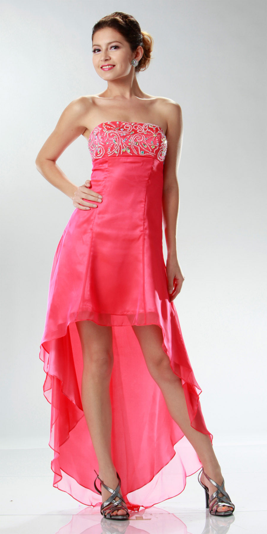ON SPECIAL LIMITED STOCK - 2 Tone Chiffon Red/Coral High Low Formal Dress Strapless Beaded Top