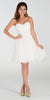 Strapless Chiffon Short Off White Bridesmaid Dress Knee Length