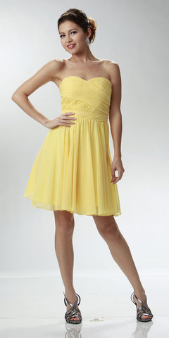 Strapless Chiffon Short Yellow Bridesmaid Dress Knee Length