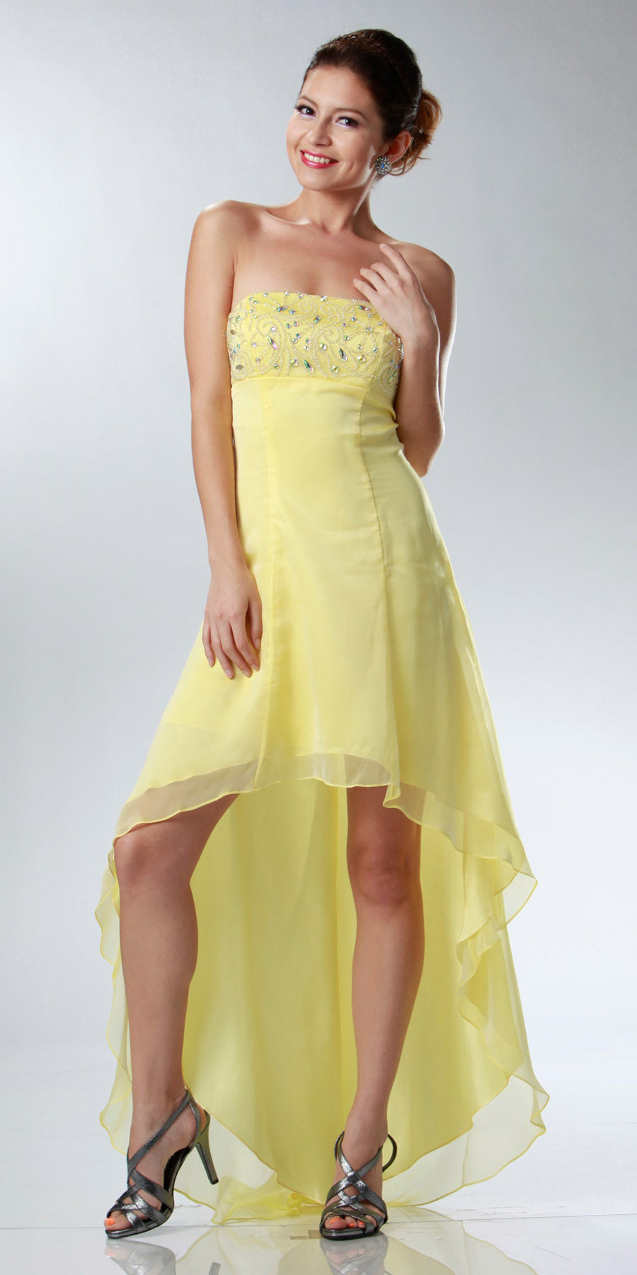 ON SPECIAL LIMITED STOCK - Yellow High Low Homecoming Dress 2 Tone Chiffon Strapless Beaded Top