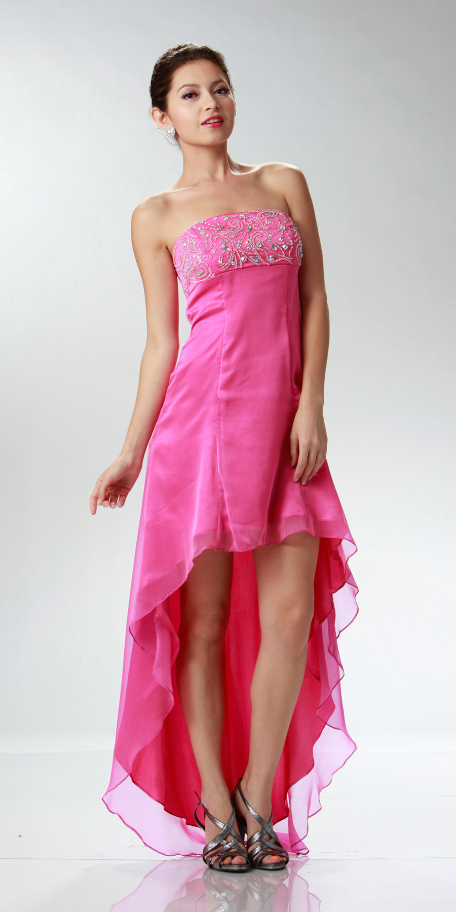 ON SPECIAL LIMITED STOCK - 2 Tone Chiffon Fuchsia High Low Formal Dress Strapless Beaded Top