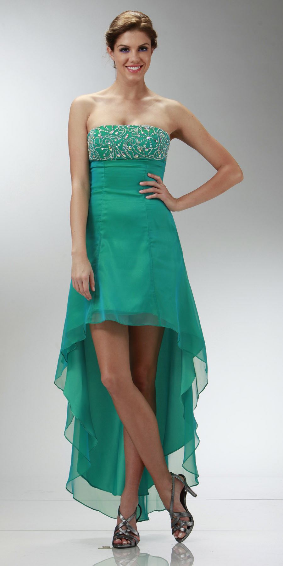 ON SPECIAL LIMITED STOCK - 2 Tone Chiffon Green High Low Formal Dress Strapless Beaded Top