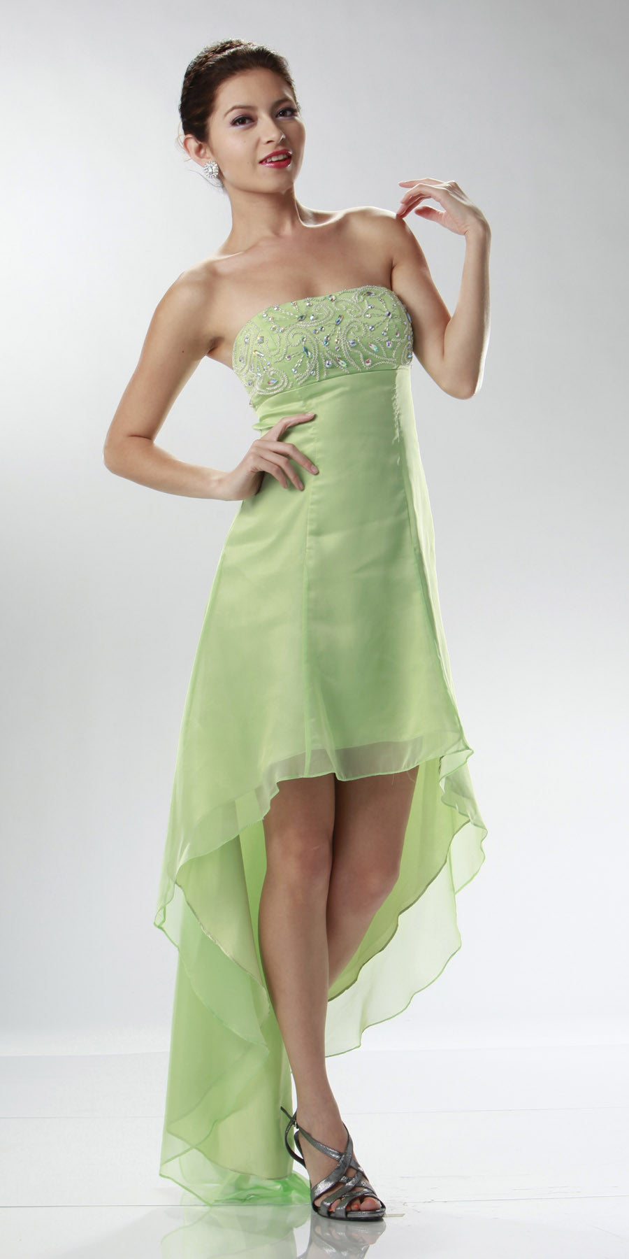 ON SPECIAL LIMITED STOCK - Mint Green High Low Homecoming Dress 2 Tone Chiffon Strapless Beaded Top