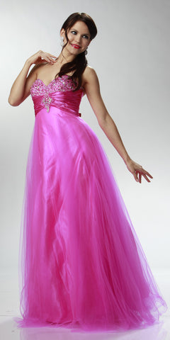 ON SPECIAL LIMITED STOCK - Long Fuchsia Prom Gown Rhinestone Ruched Strapless Sweetheart Empire