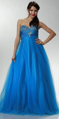 ON SPECIAL LIMITED STOCK - Long Turquoise Prom Gown Rhinestone Ruched Strapless Sweetheart Empire