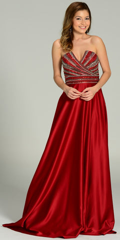 ON SPECIAL LIMITED STOCK - Strapless V Notch Neckline Beaded Bodice Satin Formal Gown Burgundy