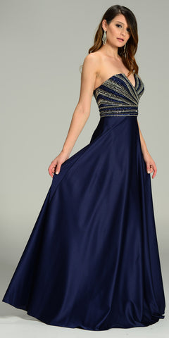 ON SPECIAL LIMITED STOCK - Strapless V Notch Neckline Beaded Bodice Satin Formal Gown Navy Blue