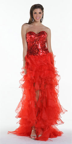 ON SPECIAL LIMITED STOCK - Stunning Strapless Red High Low Gown Sequins Top Organza Skirt