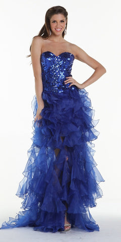 ON SPECIAL LIMITED STOCK - Stunning Strapless Royal Blue High Low Gown Sequins Top Organza Skirt