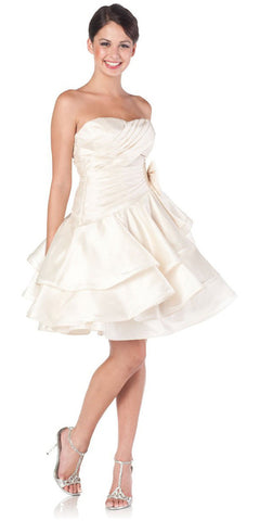 ON SPECIAL LIMITED STOCK - Sweetheart Neck Cream Prom Dress Ruched Layered Bow Waist Gown
