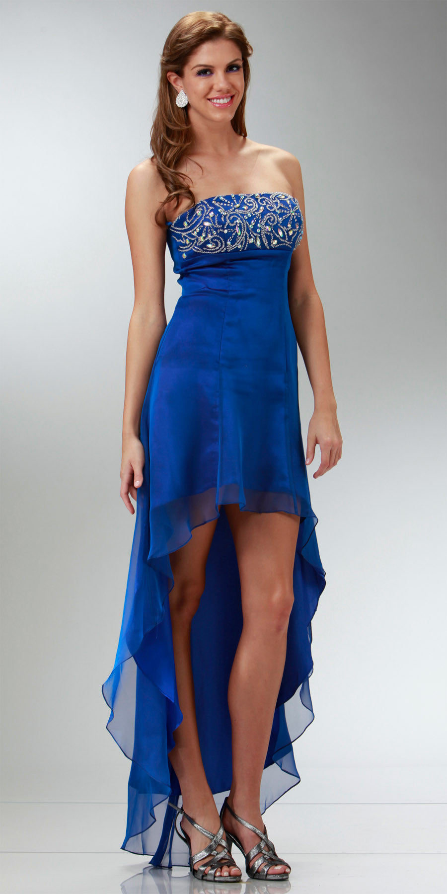 ON SPECIAL LIMITED STOCK - 2 Tone Chiffon Royal Blue High Low Formal Dress Strapless Beaded Top