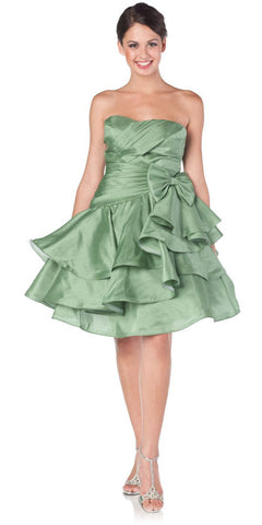 ON SPECIAL LIMITED STOCK - Sweetheart Neck Green Prom Dress Ruched Layered Bow Waist Gown