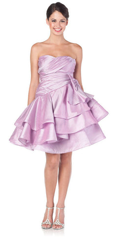 ON SPECIAL LIMITED STOCK - Sweetheart Neck Lilac Prom Dress Ruched Layered Bow Waist Gown