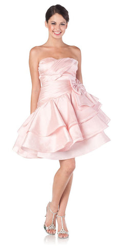 ON SPECIAL LIMITED STOCK - Sweetheart Neck Pink Prom Dress Ruched Layered Bow Waist Gown