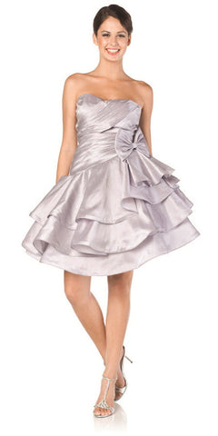 ON SPECIAL LIMITED STOCK - Sweetheart Neck Silver Prom Dress Ruched Layered Bow Waist Gown