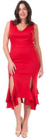 Tea Length Plus Size Red Sheath Dress Ruffled Double Slit Hem