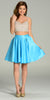 Two Piece A Line Dress Sequin/Rhinestone Top Aqua Satin Skirt