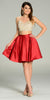 Two Piece A Line Dress Sequin/Rhinestone Top Burgundy Satin Skirt