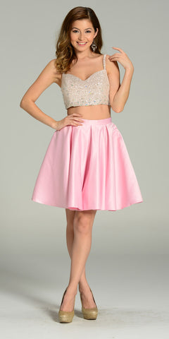 Two Piece A Line Dress Sequin/Rhinestone Top Pink Satin Skirt