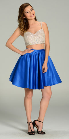 Two Piece A Line Dress Sequin/Rhinestone Top Royal Blue Satin Skirt