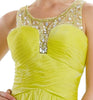 ON SPECIAL LIMITED STOCK - A Line Short Scoop Neck Meshed Yoke Lime Green Cocktail Dress